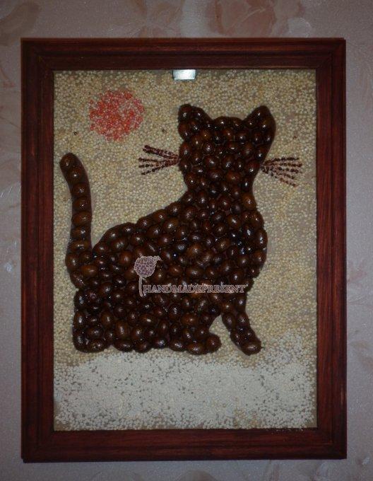 Панно кошки из кофейных зерен мастер класс